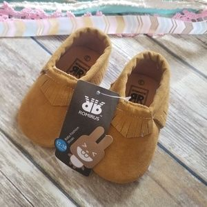 Romirus UNISEX Brown Moccasin Shoe Sz 3 12-18 mont